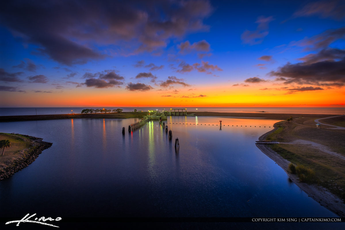 Lake Okeechobee Sunset from Port Mayaca Florida at Lock and Dam