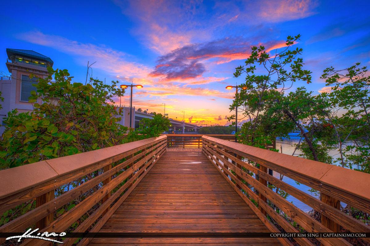 Waterway Park Jupiter Florida Sunrise at Boardwalk