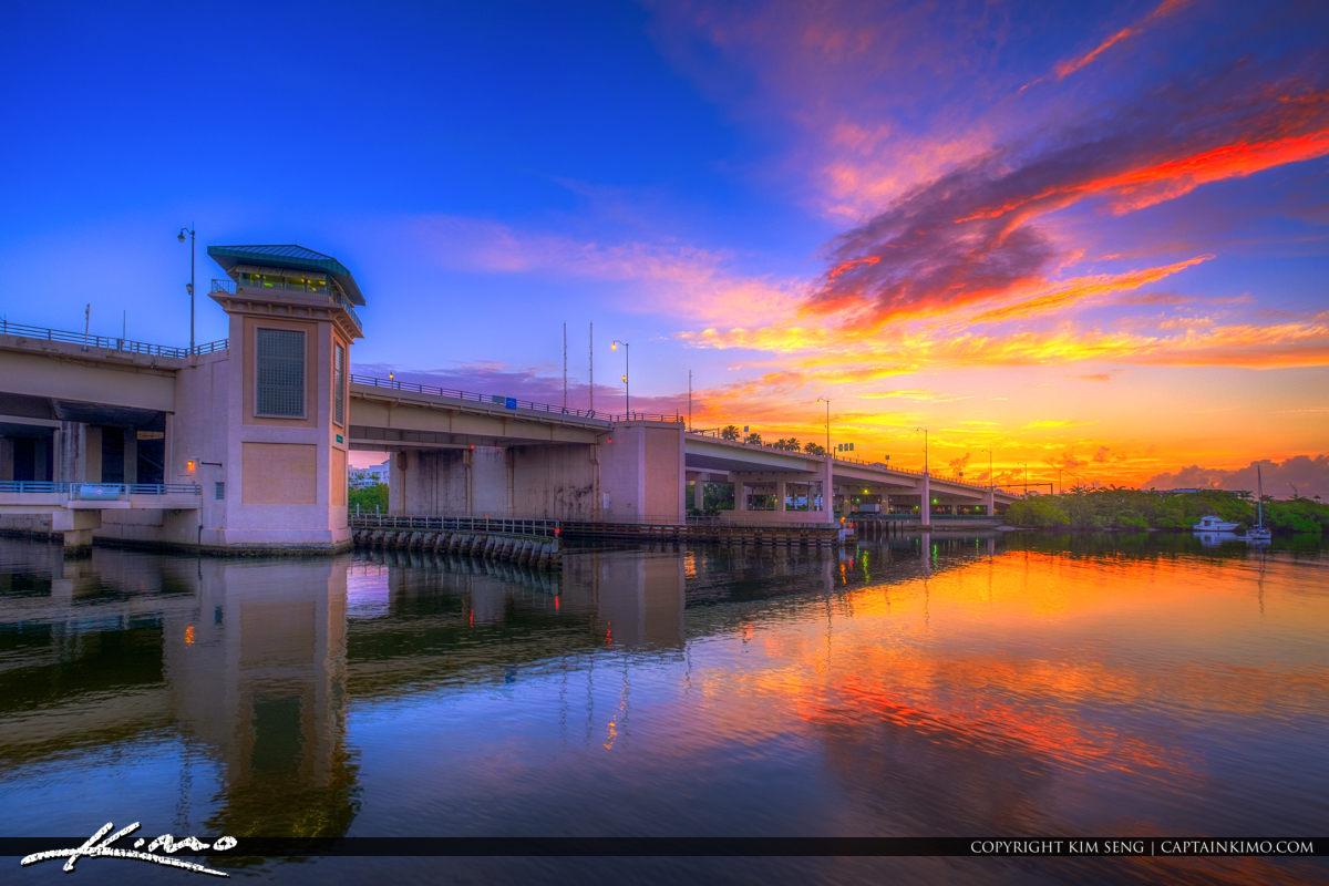 Waterway Park Jupiter Florida Sunrise Over Indiantown Road Bridg