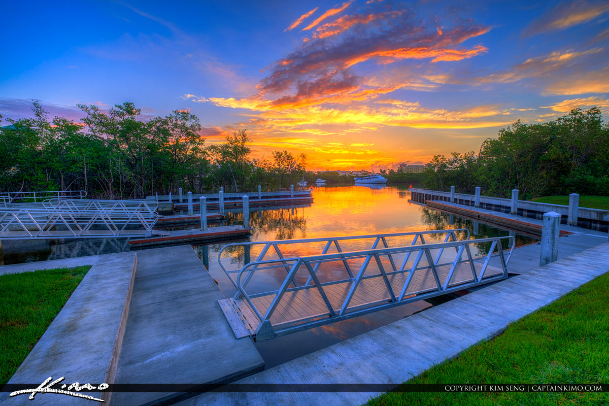 Waterway Park Jupiter Florida Sunrise at the Boat Ramp
