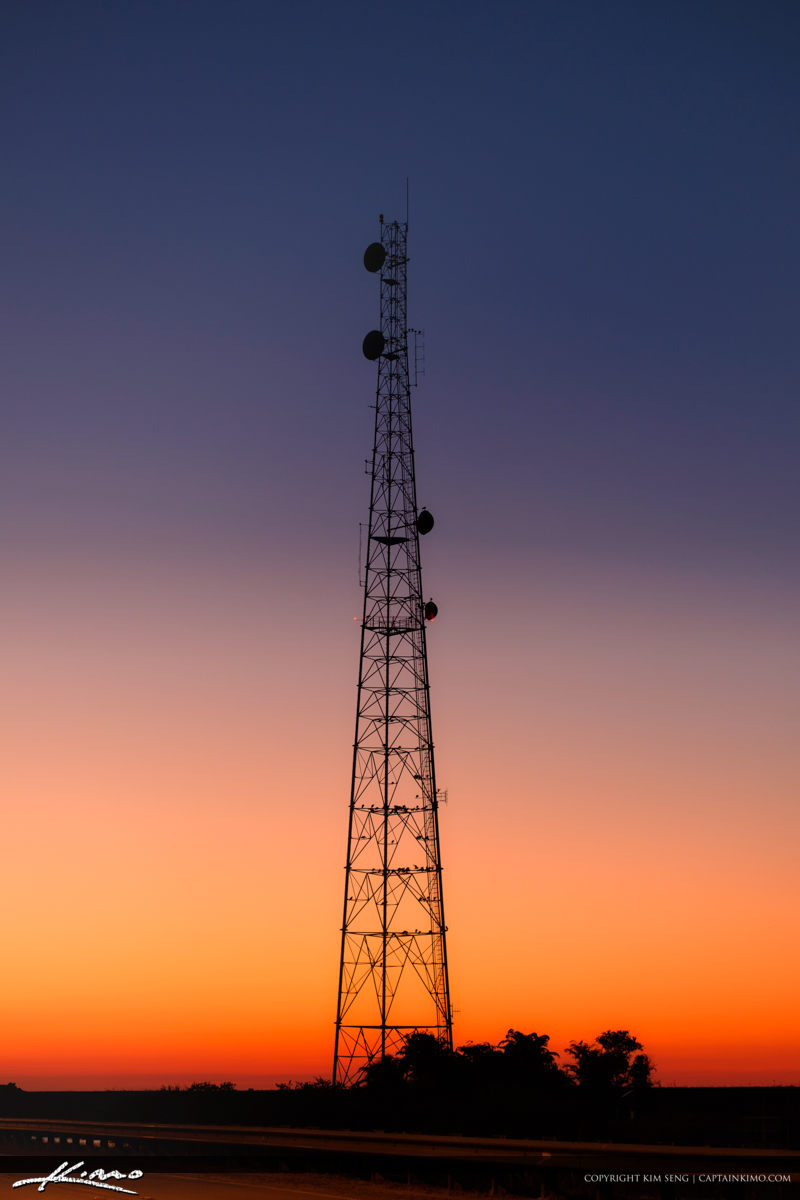 Satelite Cell Tower Florida Sunset