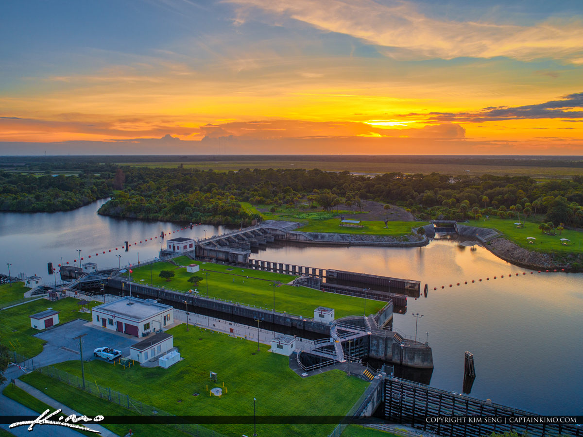 Stuart Florida at the St Lucie Lock and Dam Sunset Aerial