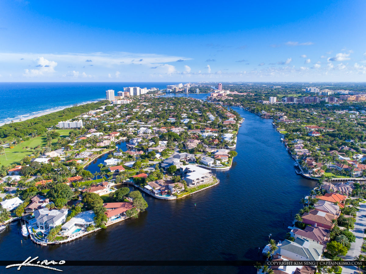 Boca Raton Florida Aerial from Park Lake and Inlet