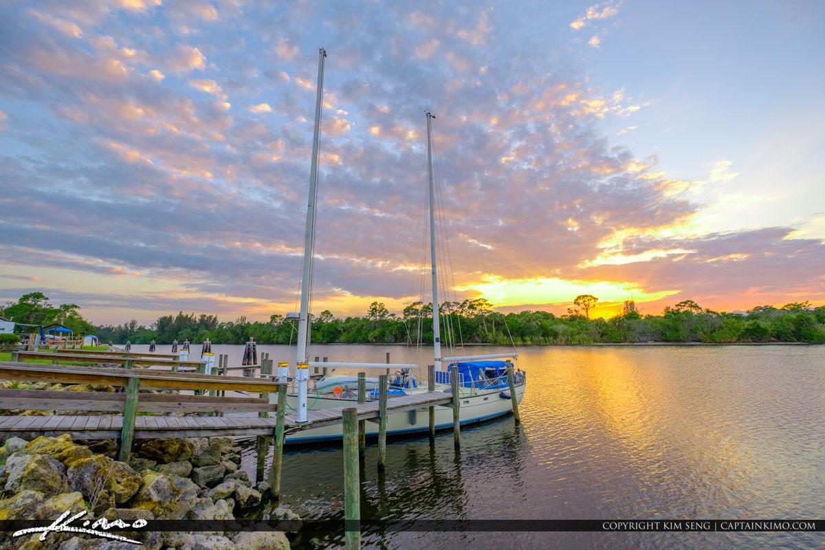 St Lucie Lock and Dam Sailboat at Dock Stuart Florida