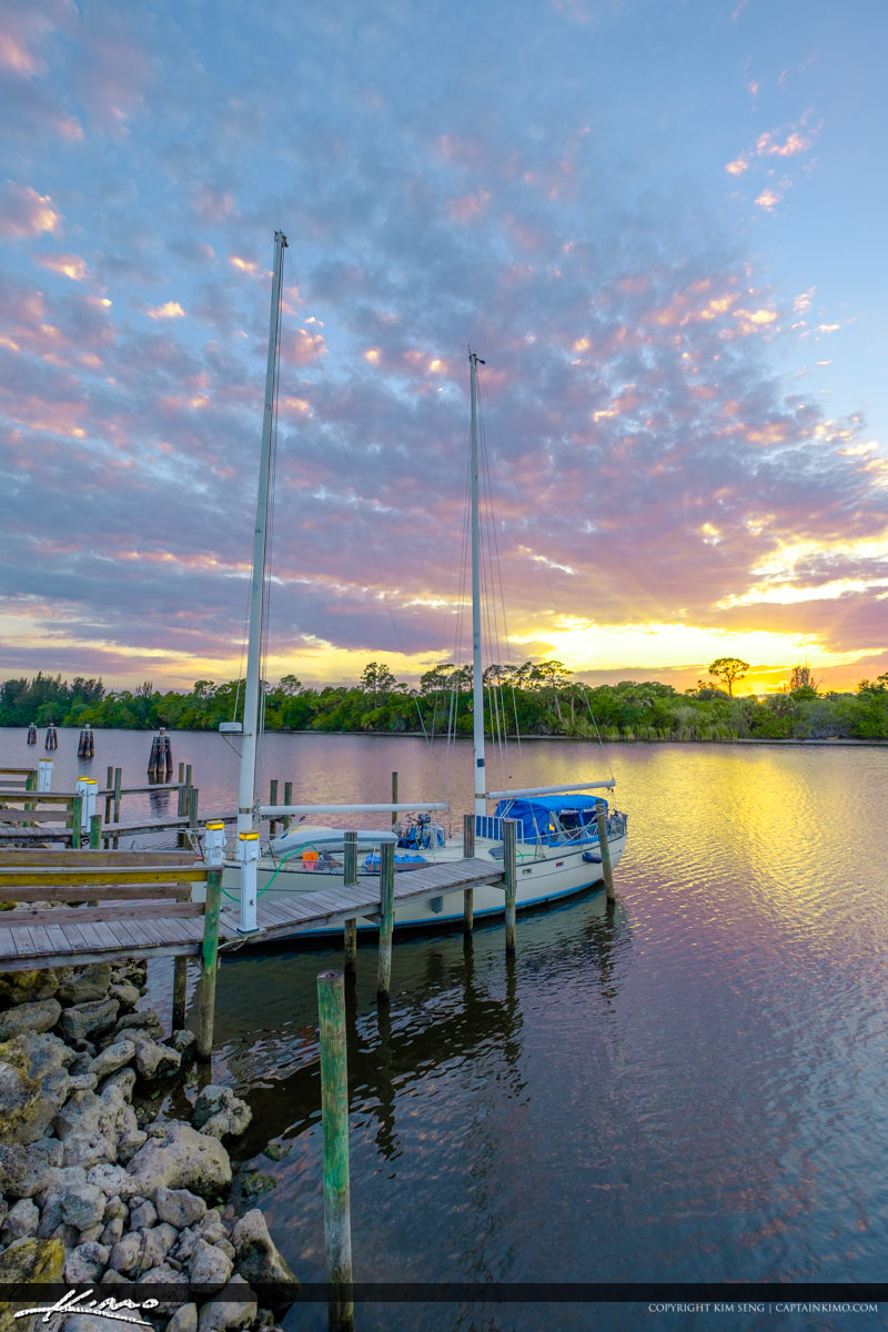 St Lucie Lock and Dam Sunset with Sailboat at Dock Stuart Florid