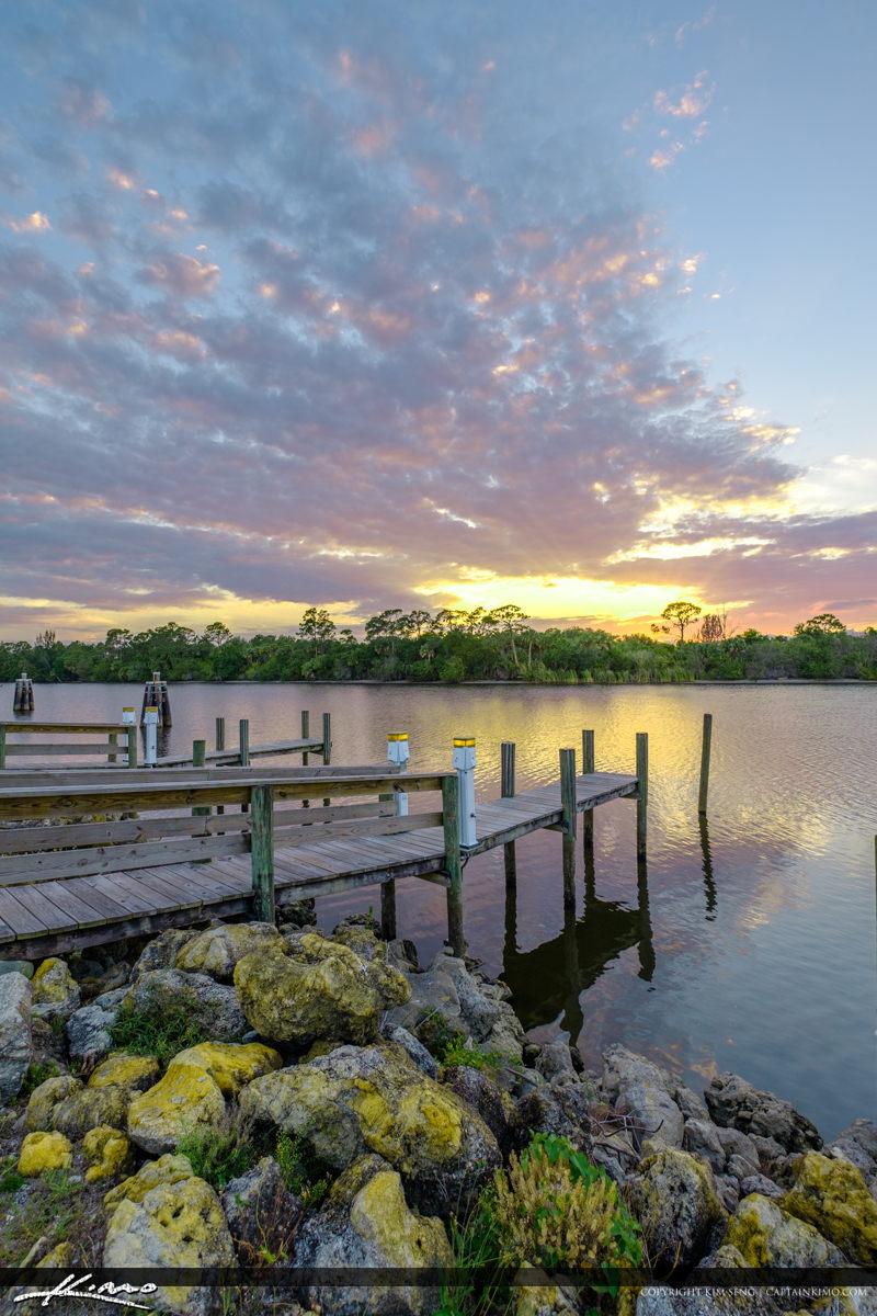 St Lucie Lock and Dam Dock at Sunset Stuart Florida River
