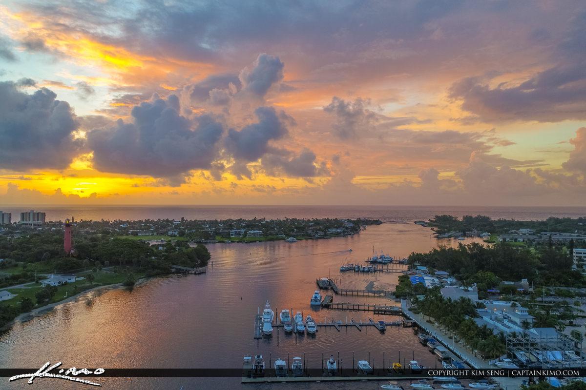 Jupiter Lighthouse Sunrise Aerial View by Marina