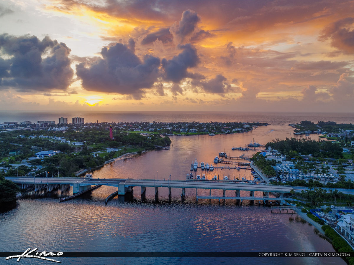 Jupiter Lighthouse Sunrise Aerial View US1 Bridge