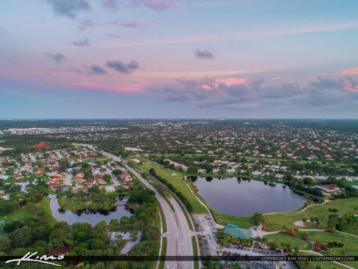 Jupiter Florida Aerial Central Blvd Over Indian Creek Neighborho