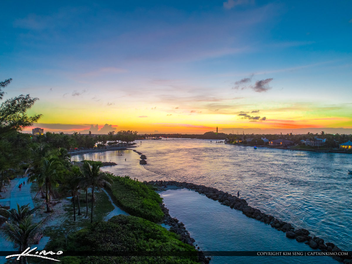 Jupiter Inlet Park Sunset Waterway Aerial
