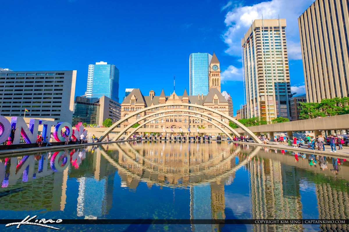 Nathan Phillips Square Toronto Canada Ontario Arches with Old Ci