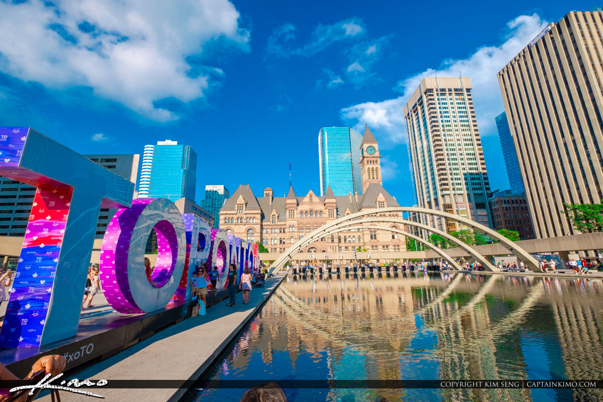 Nathan Phillips Square Toronto Canada Ontario Water Fountain wit