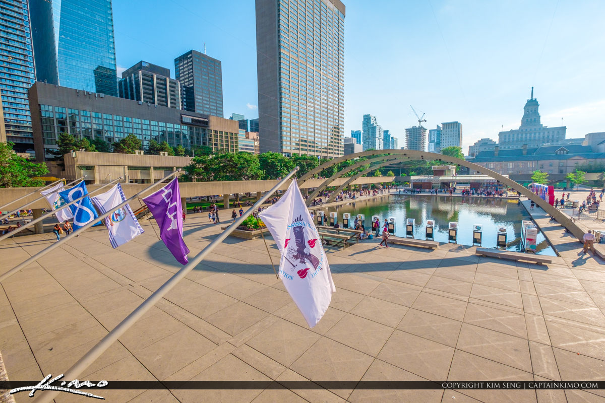Nathan Phillips Square Toronto Canada Ontario Flags Downtown Are