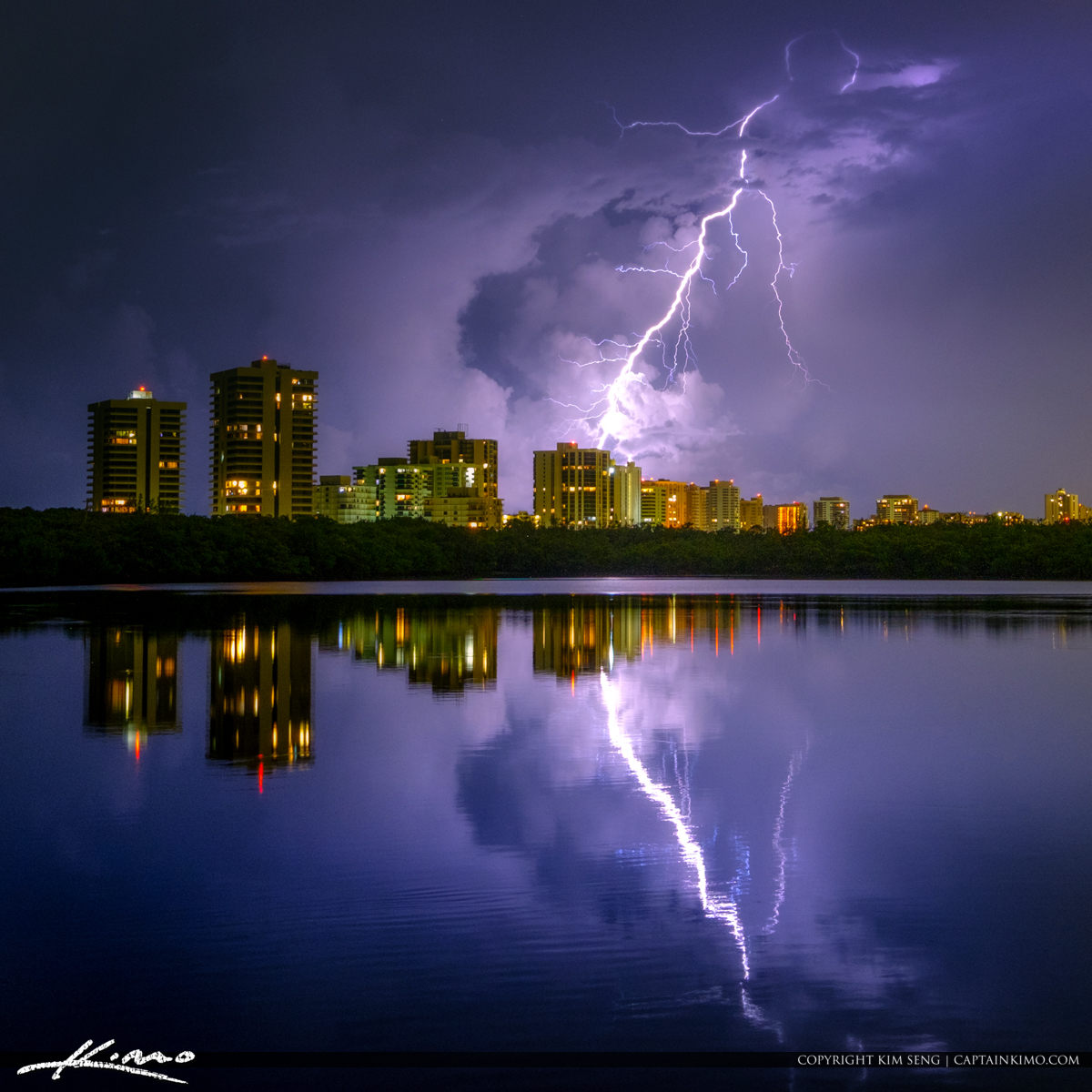 Lightning Strike from Above Giant Bolt Over Singer Island