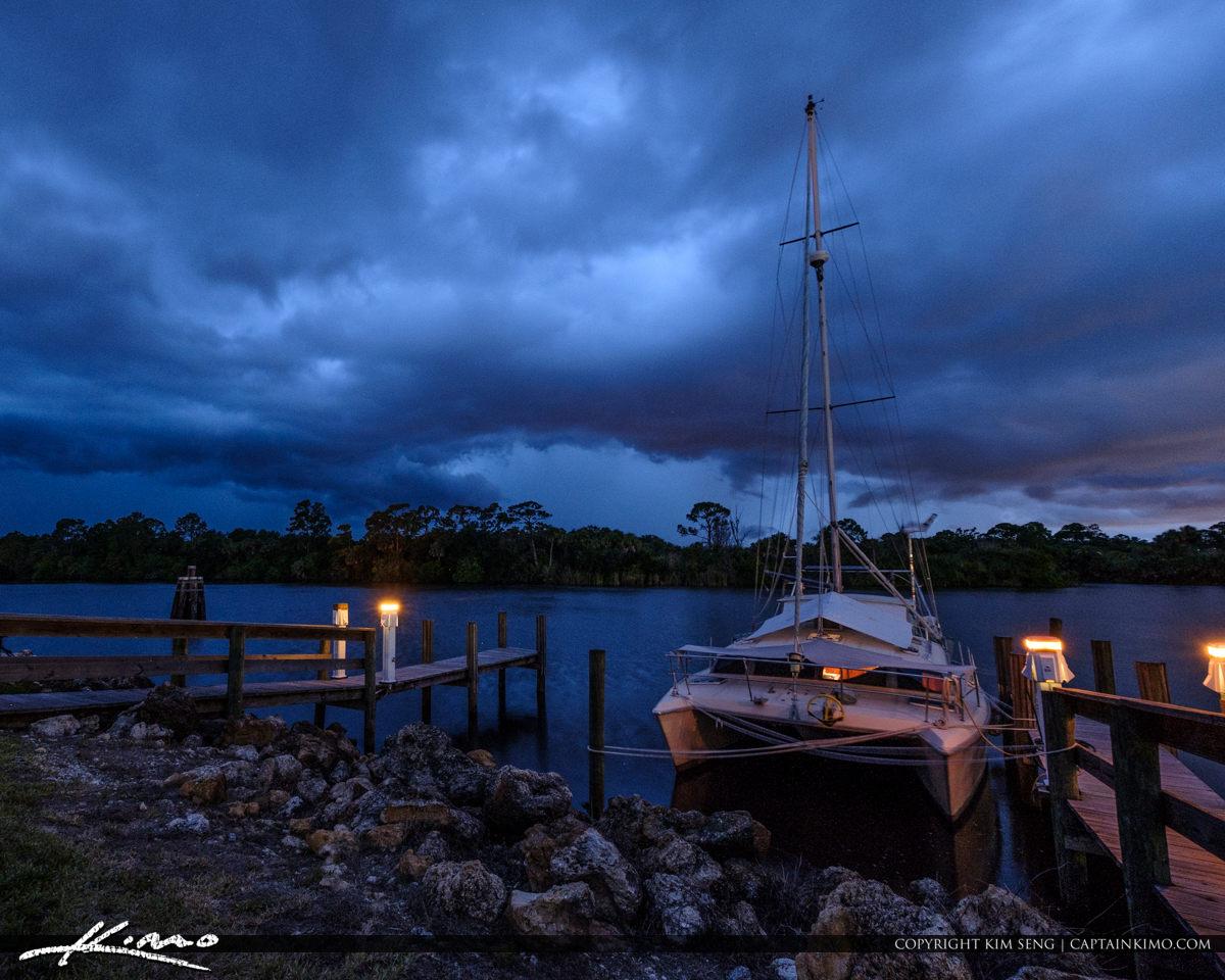 Stuart Florida Storm St Lucie River Lock and Dam Sailboat Docke