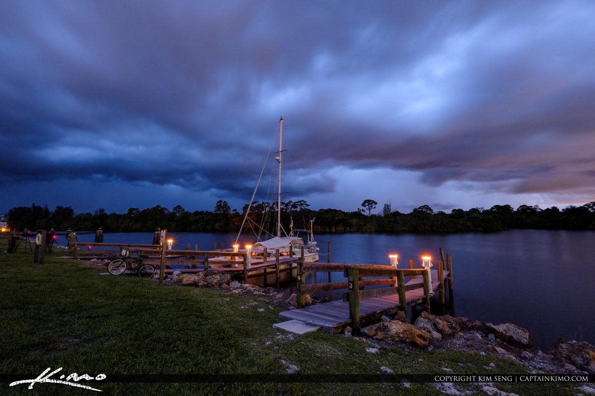 Stuart Florida Storm St Lucie River Lock and Dam Bike and Sailb