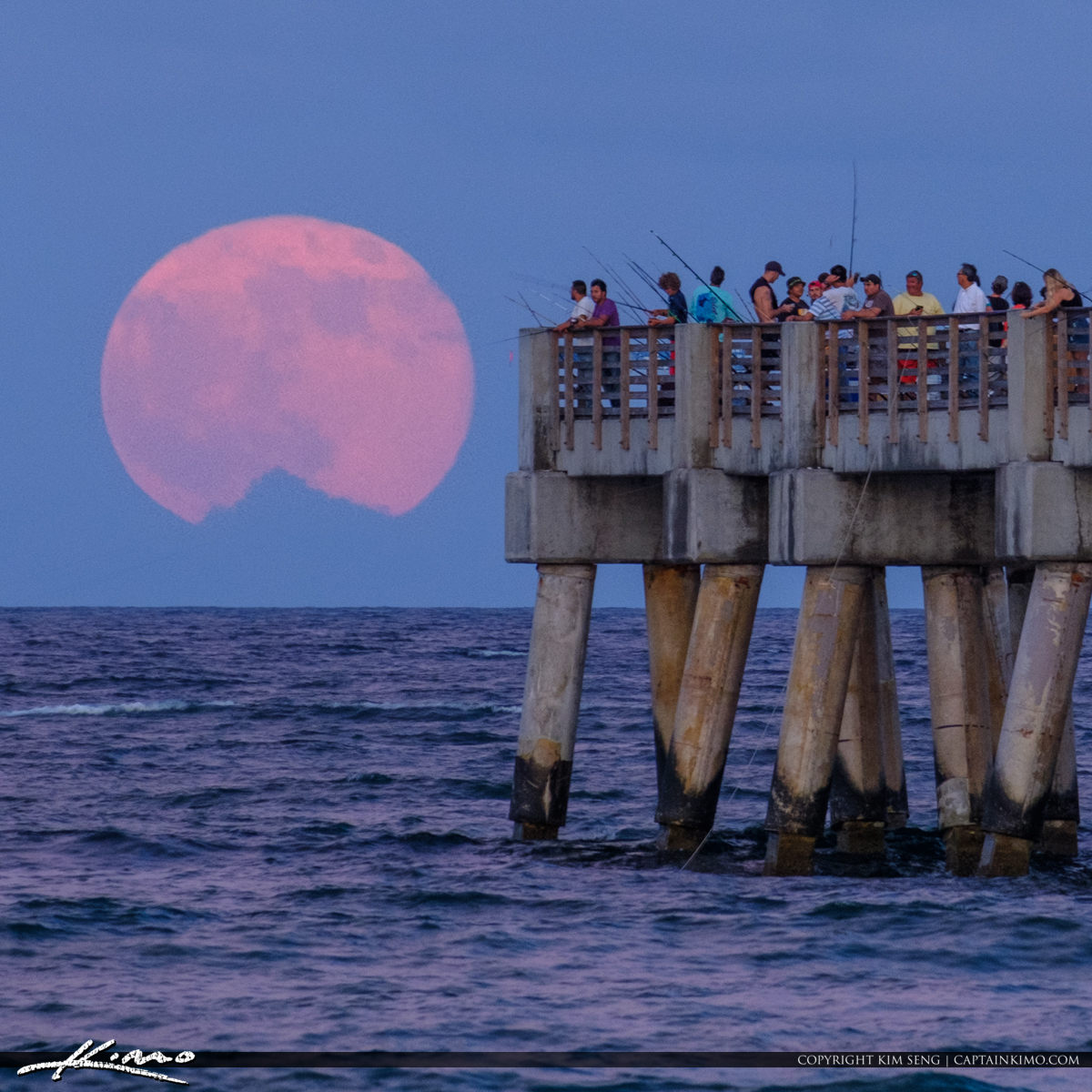 Close Up Square Moon Rise Lake Worth Pier