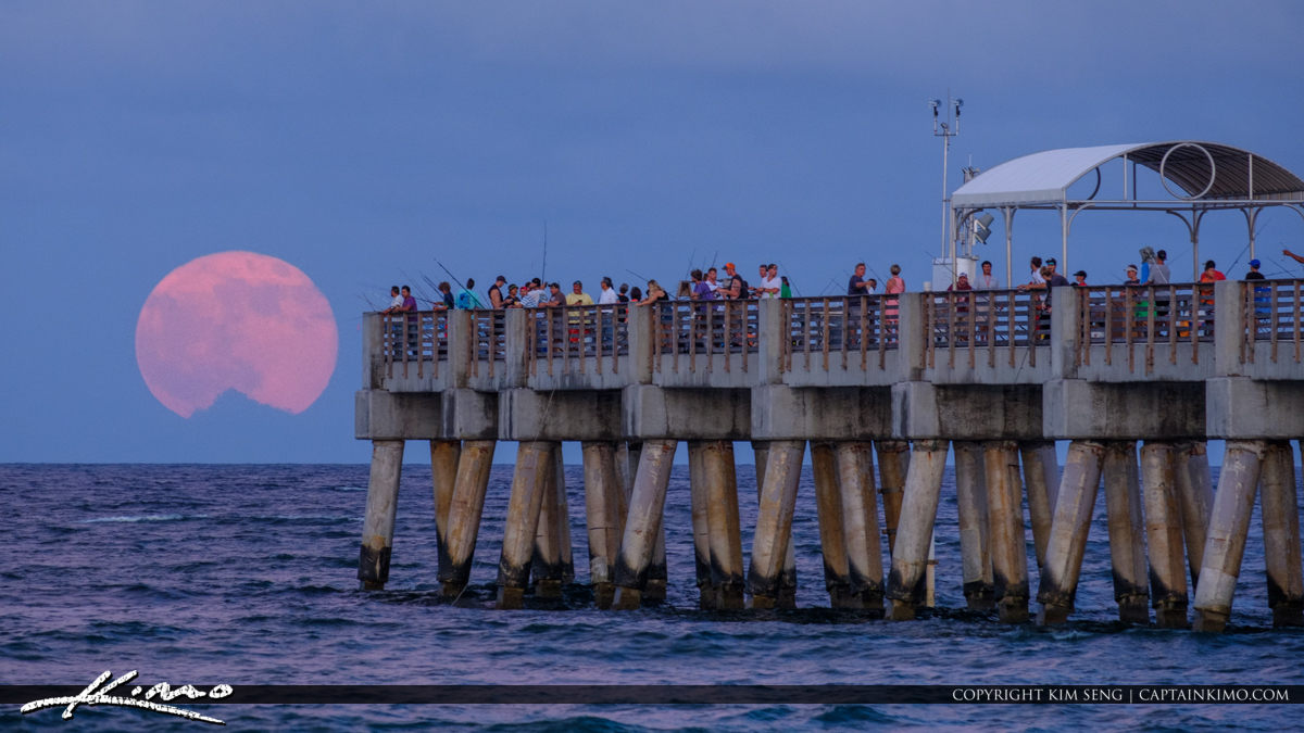 Lake Worth Pier Full Moon Rise Drum Circle