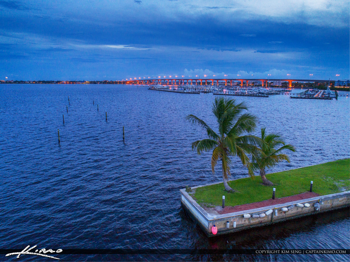 Roosevelt Bridge Stuart Florida Waterway Coconut Tree