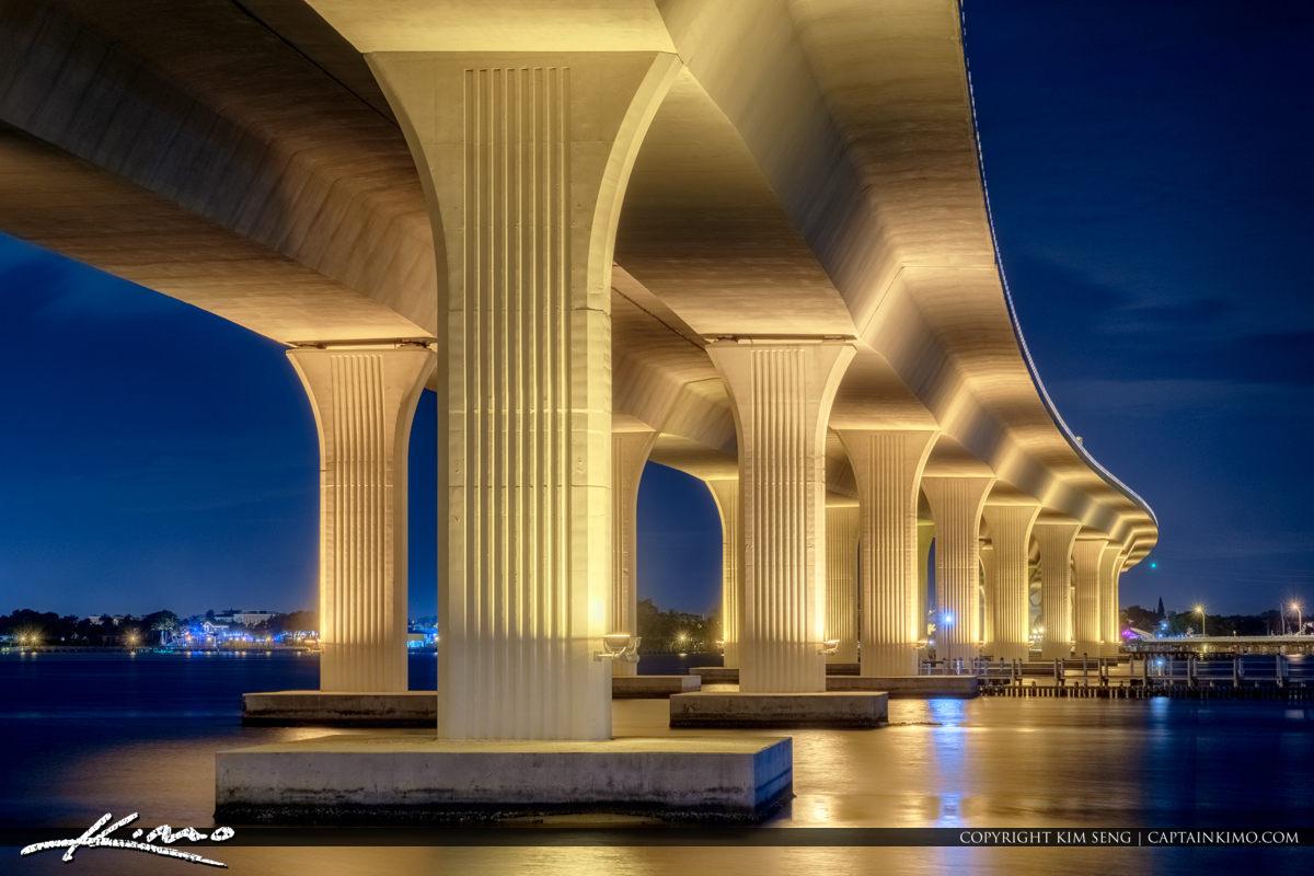 Roosevelt Bridge Night Lights After Sunset