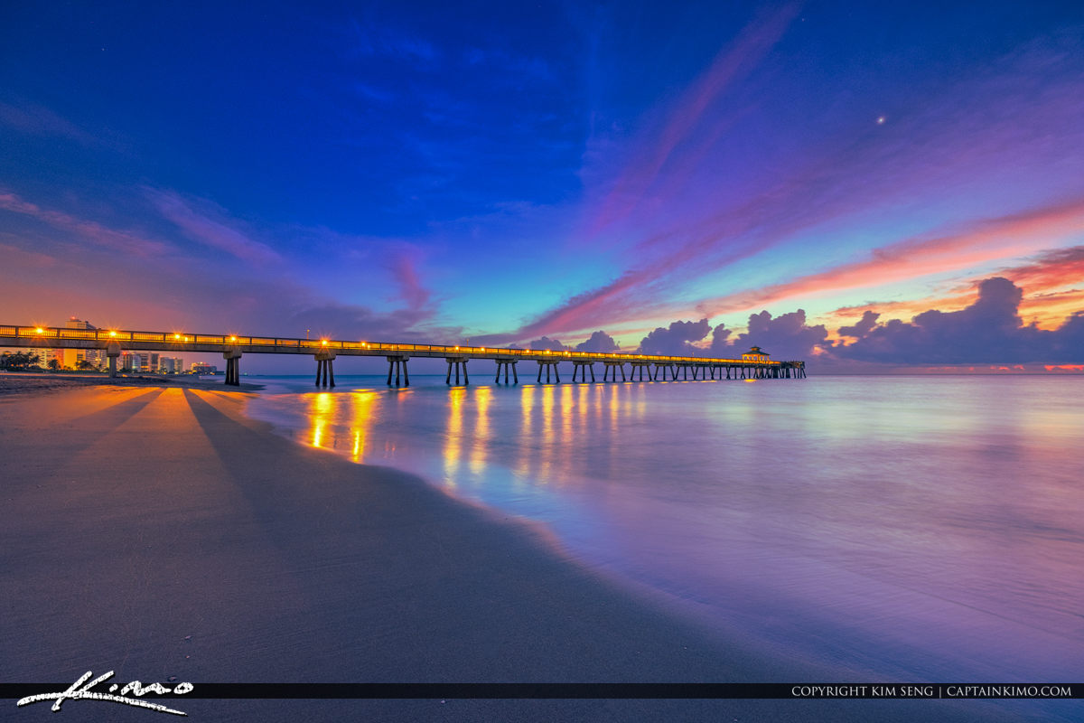 Deerfield Beach Florida Early Morning Colors Atlantic Ocean