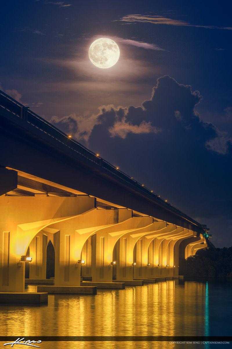 Full Moon Palm City Florida at Veterans Memorial Bridge