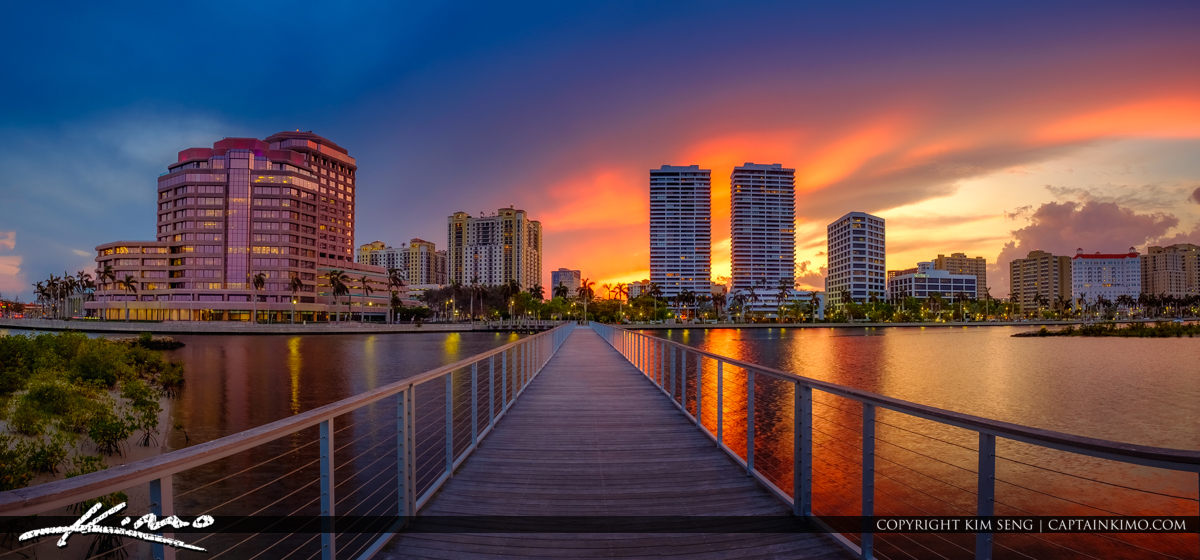 West Palm Beach Sunset Skyline Trump Tower