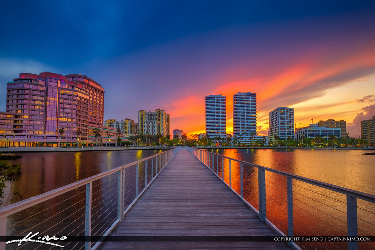 West Palm Beach Florida Skyline from South Cove Natural Area Sun