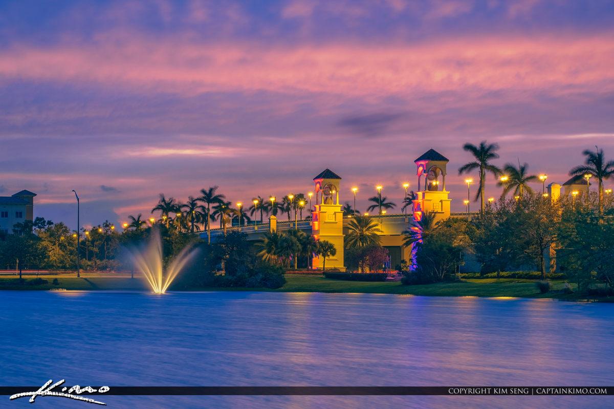 PGA Boulevard Bridge Waterfountain After Sunset