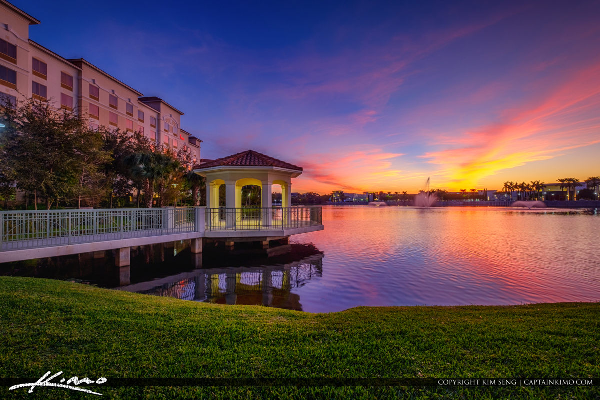 Epic Sunset Colors Downtown at the Gardens Hilton Hotel