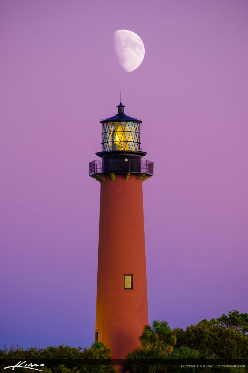 Pink Moon at Jupiter Lighthouse Captain Kimo Style