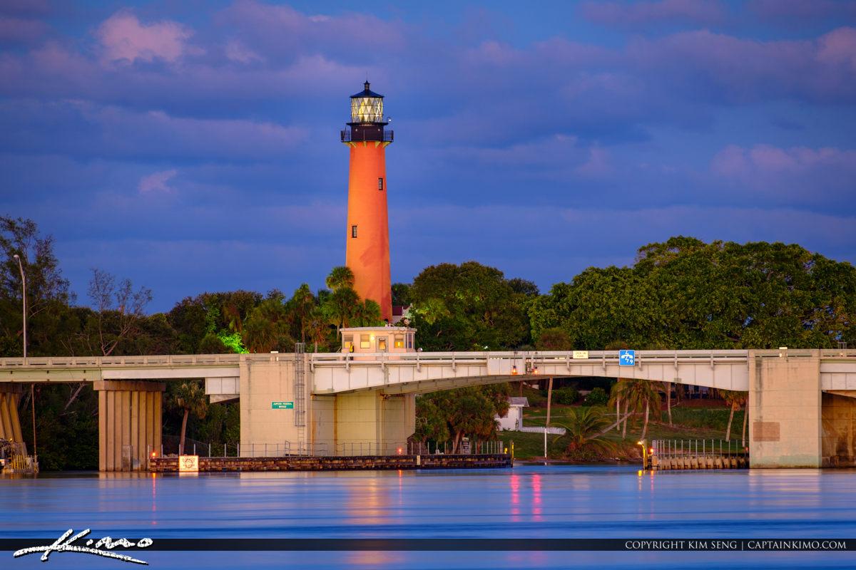 Jupiter Lighthouse from Sawfish Bay Park Blue Night with Fuji XT