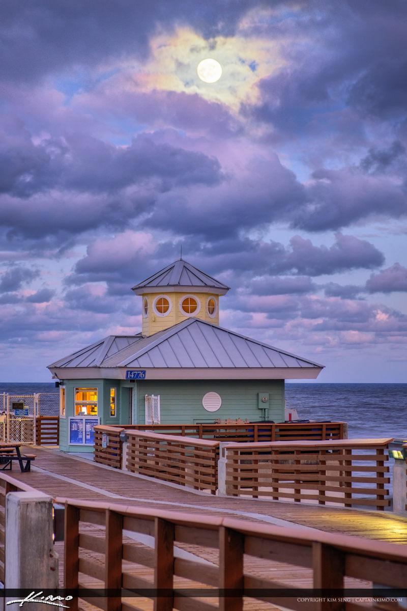 Juno Beach Pier Moon Rise November
