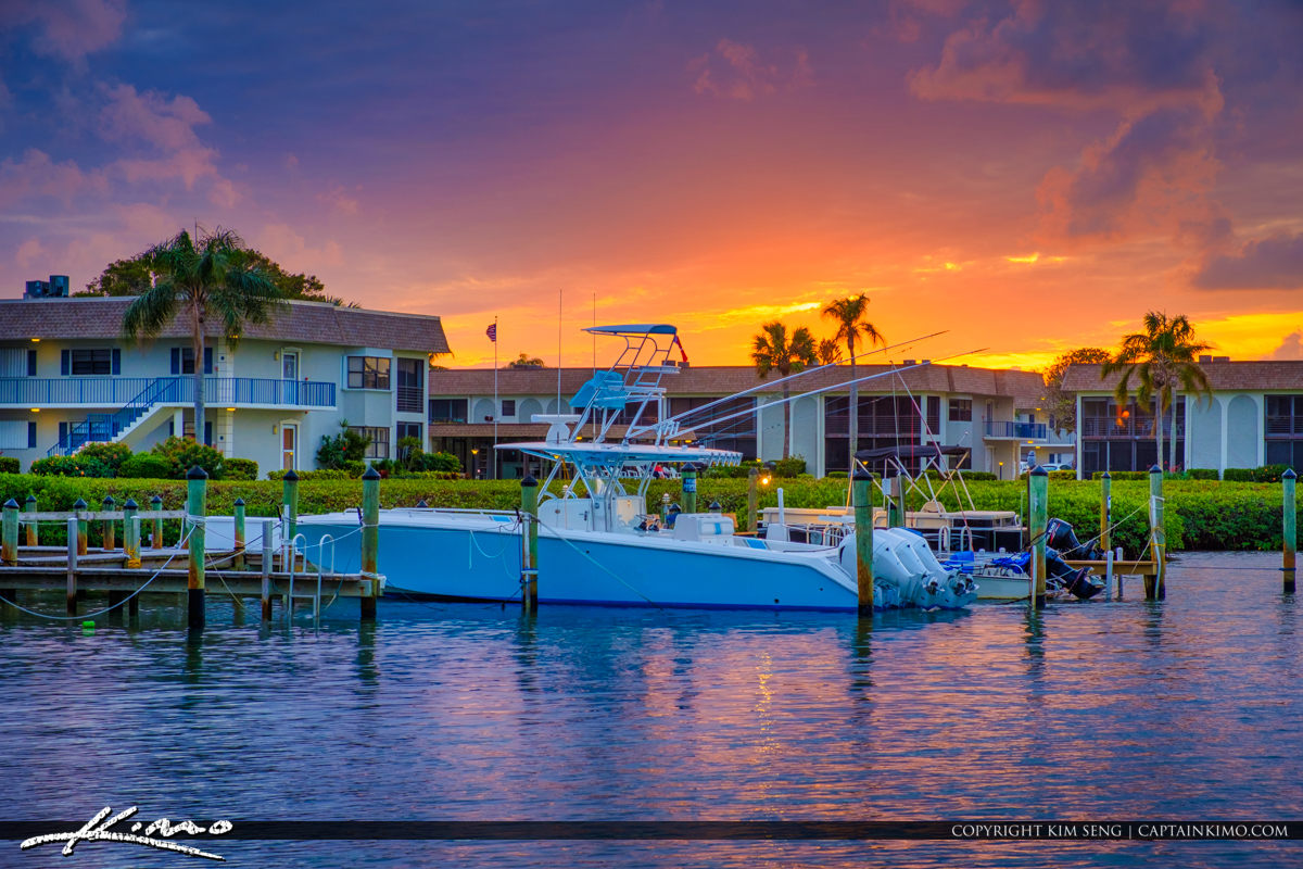 Waterfront Property with Boat at Jupiter Florida