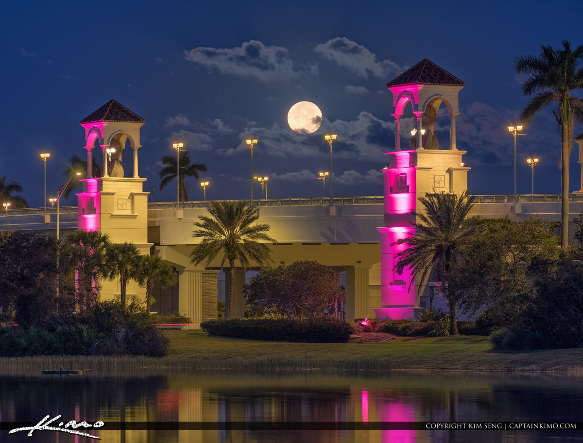 Full Moon Setting Palm Beach Gardens PGA Bridge
