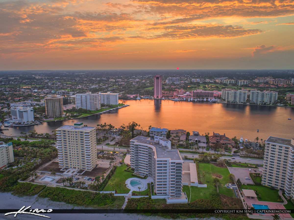 Lake Boca Raton Aerial Sunset Condos at the Oceanfront