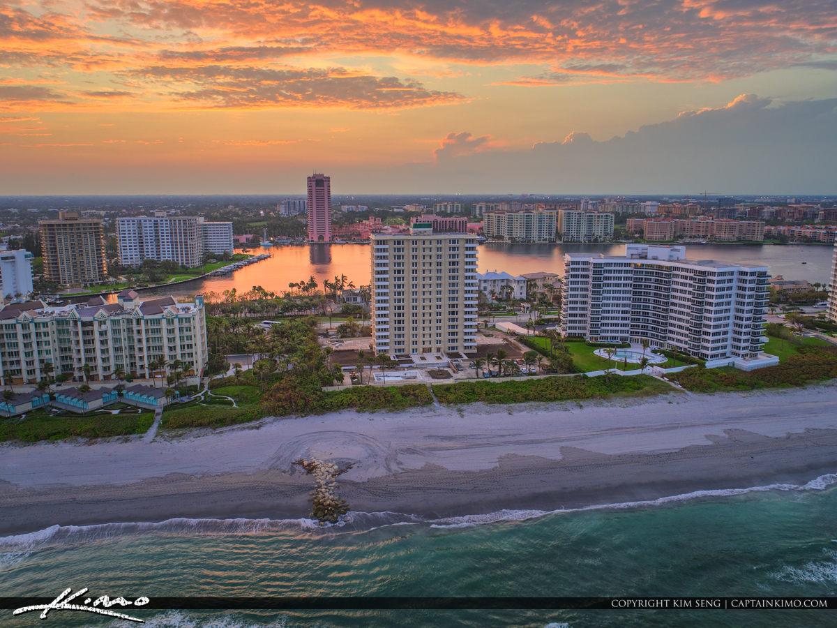 Lake Boca Raton Aerial Sunset from Atlantic Ocean Boca Resort