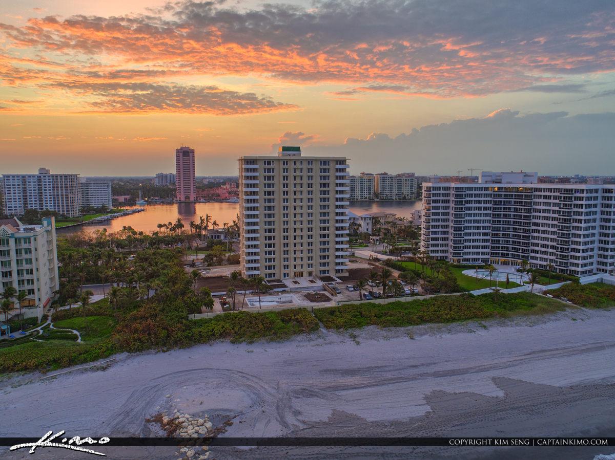 Lake Boca Raton Aerial Sunset Pink Building View Oceanfront Prop