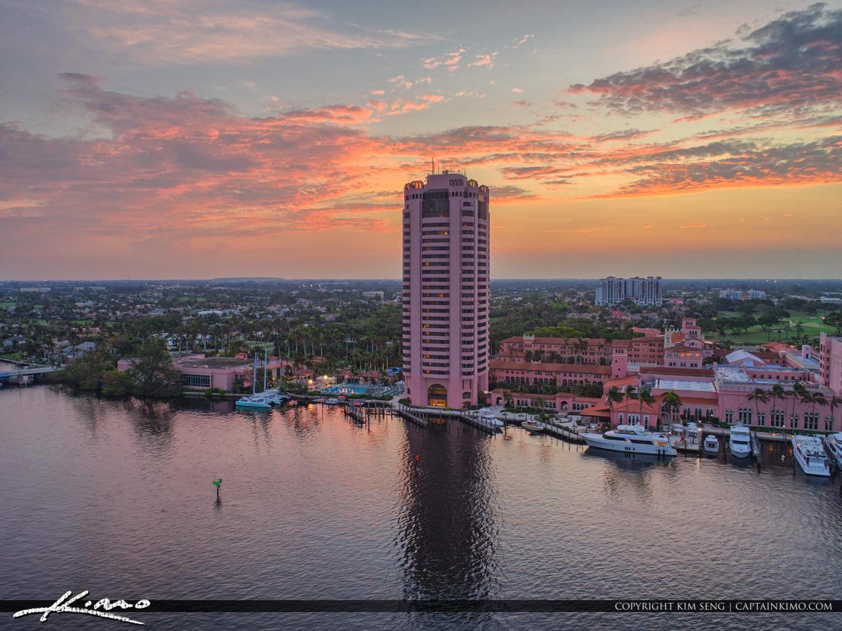 Lake Boca Raton Aerial Sunset Boca Raton Resort