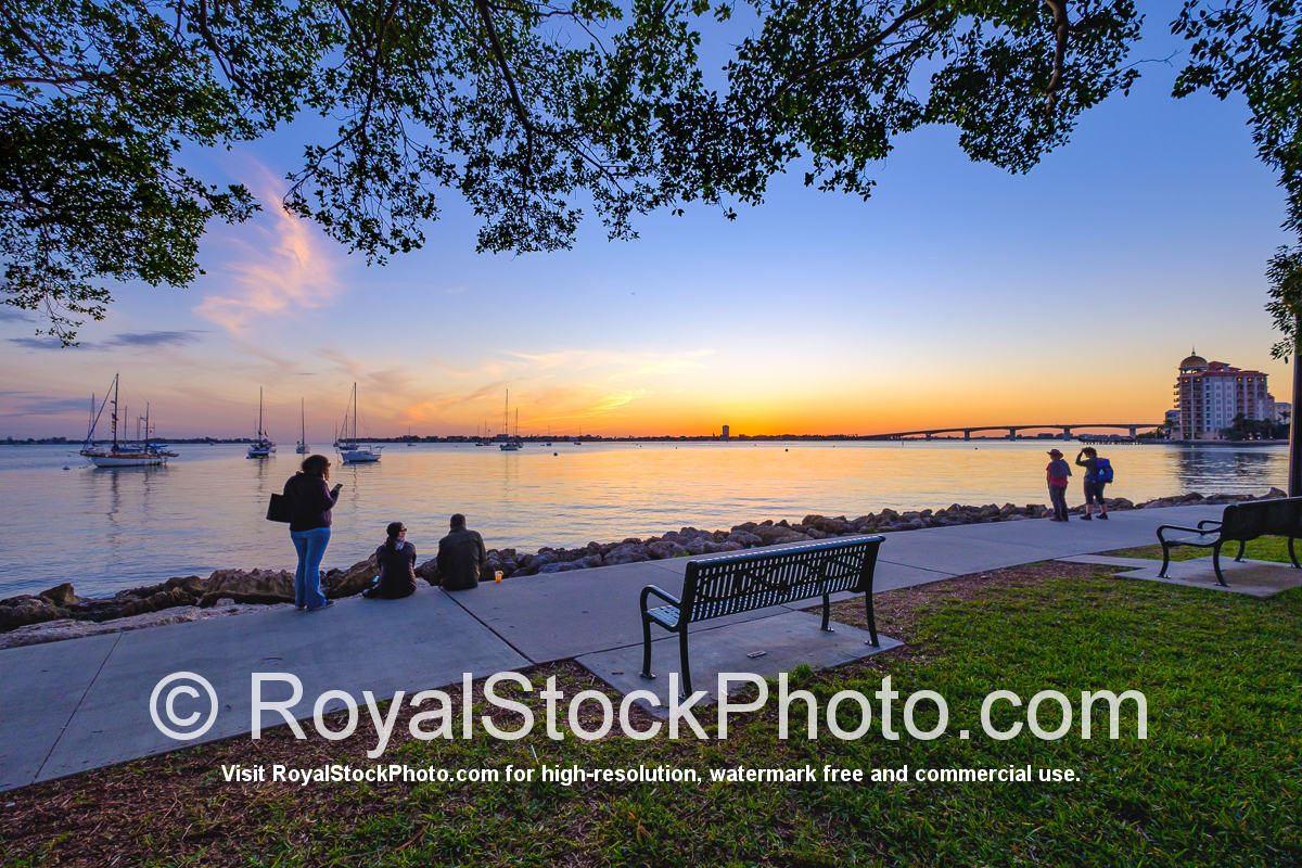 Sarasota Bayfront People Watching Sunset