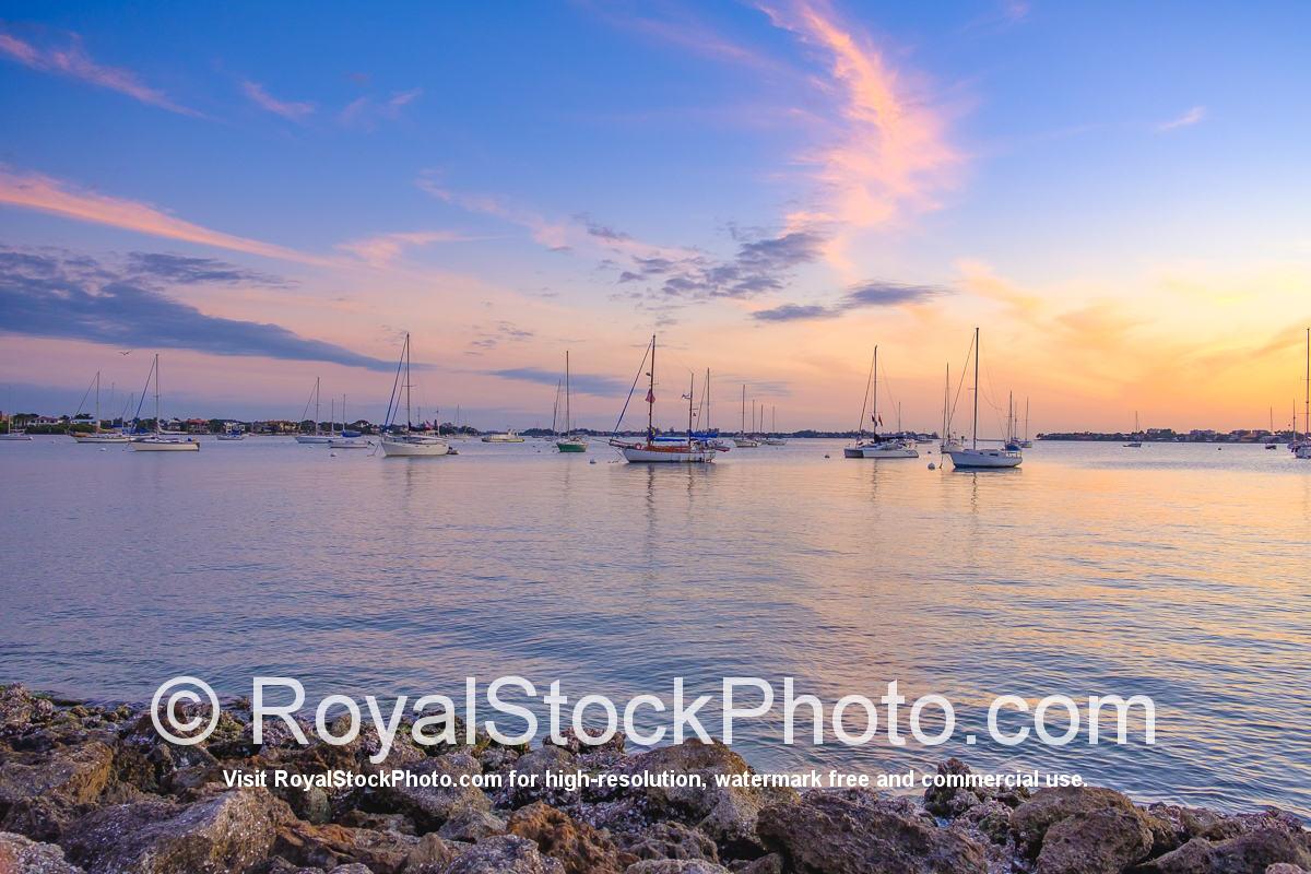 Sarasota Bayfront Sailboats Anchored