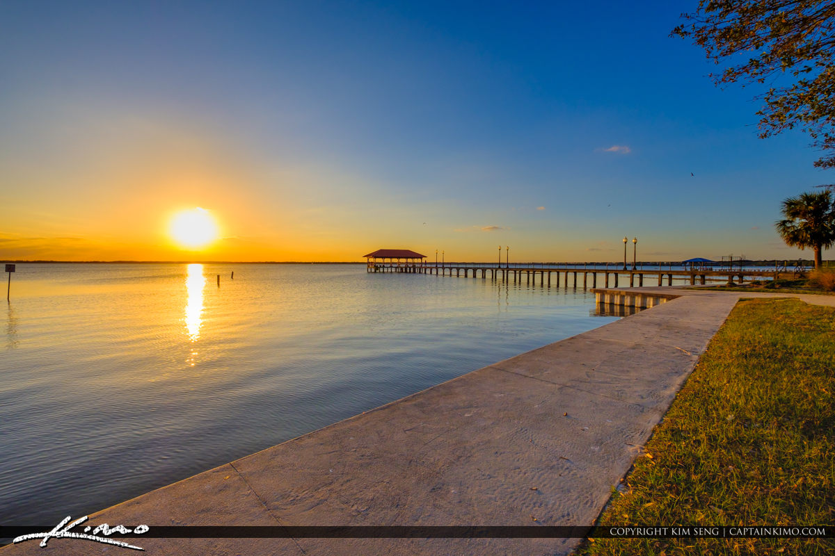 Sunset at Walkway Lake Jackson Fishing Pier Sebring Florida