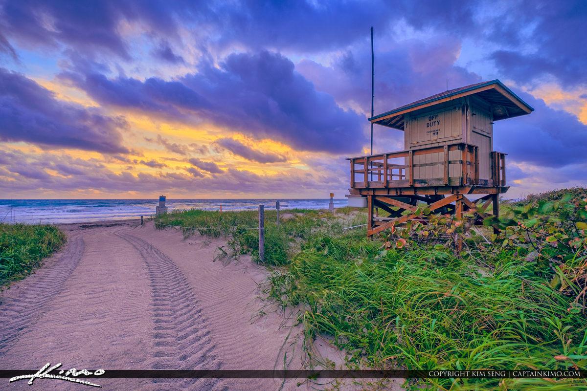 Lifeguard Tower at Beach Ocean Reef Park Cloudy Sunrise