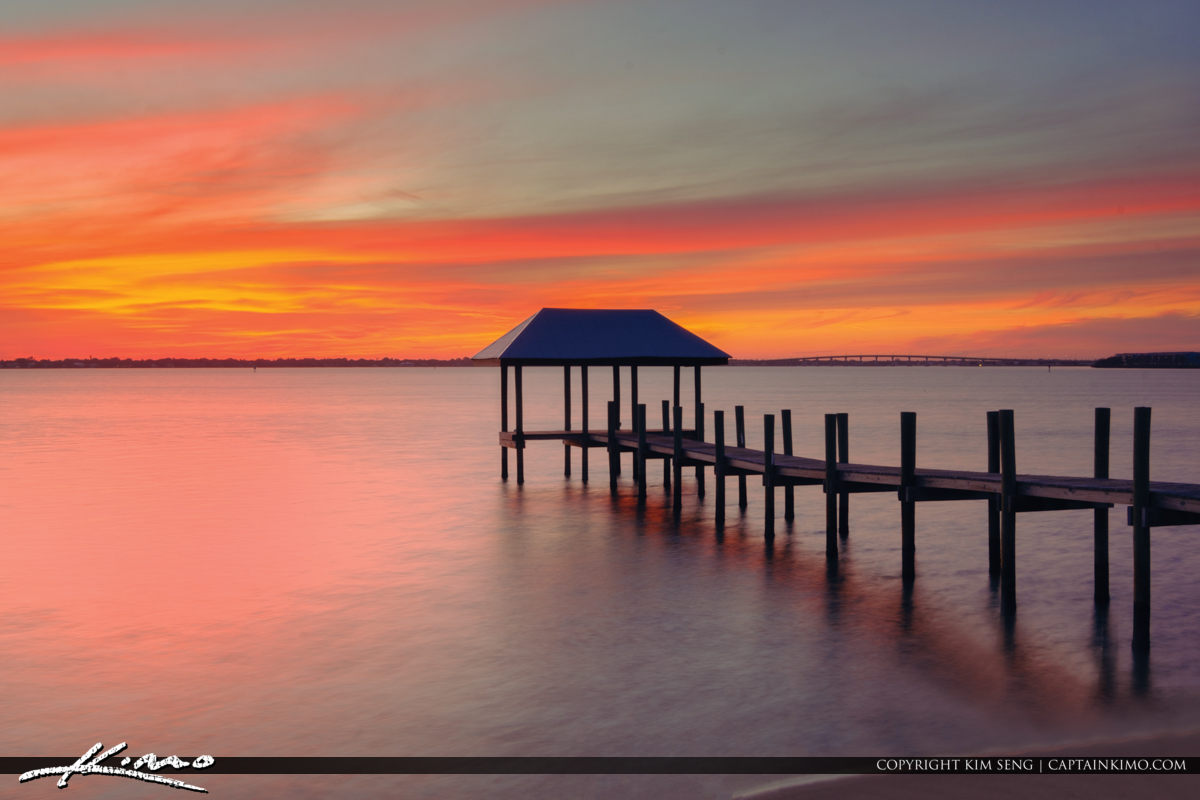 Refuge House Fishing Pier Sunset Pastel Colors