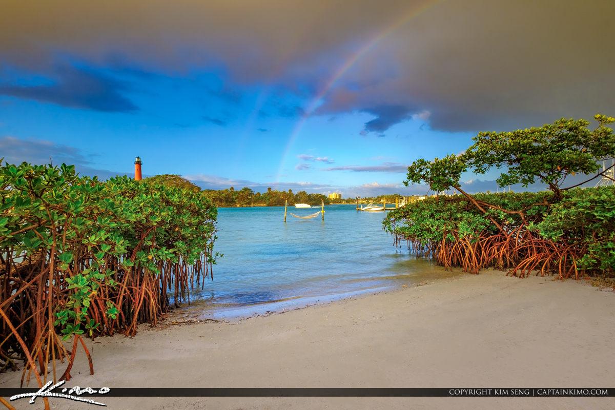 Jupiter Inlet Lighthouse Florida with Rainbow