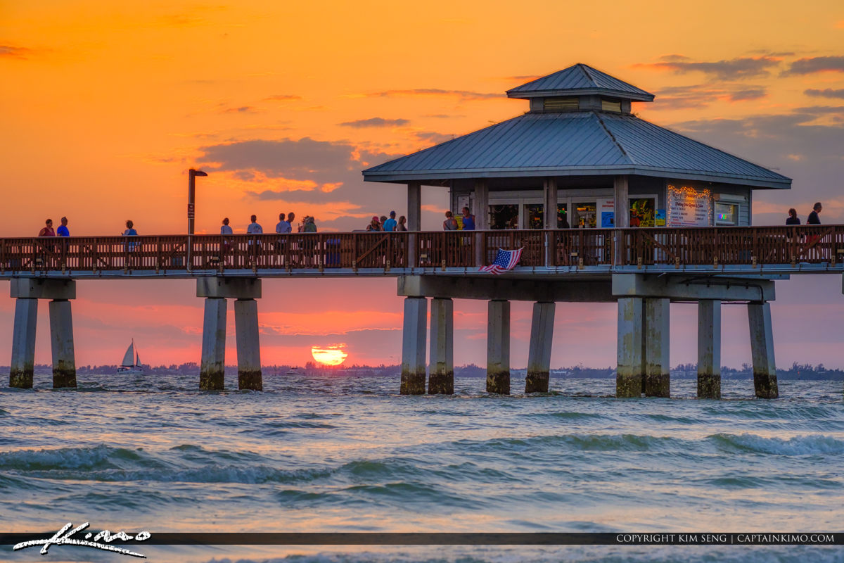 Fort Myers Beach Pier Sunset Over West Coast Florida
