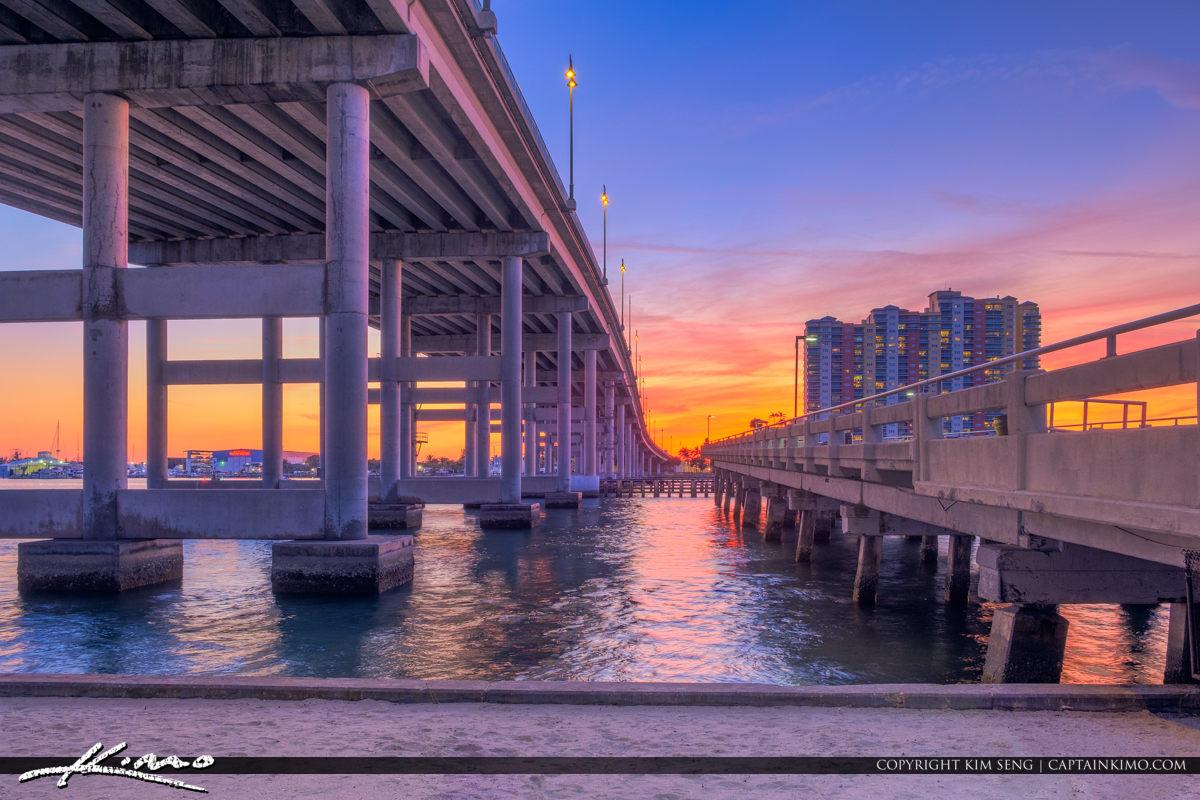 Blue Heron Bridge Sunset Between Fishing Half Bridge