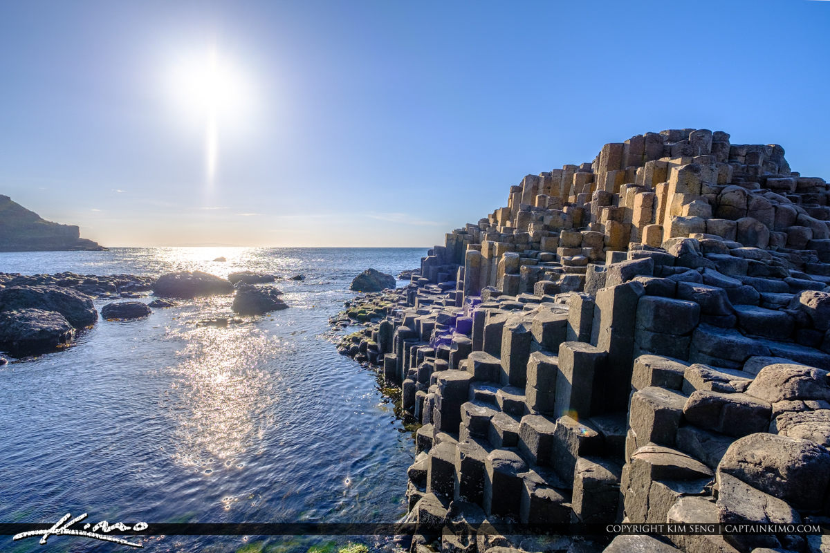Into the Sun Giants Causeway Bushmills Northern Ireland