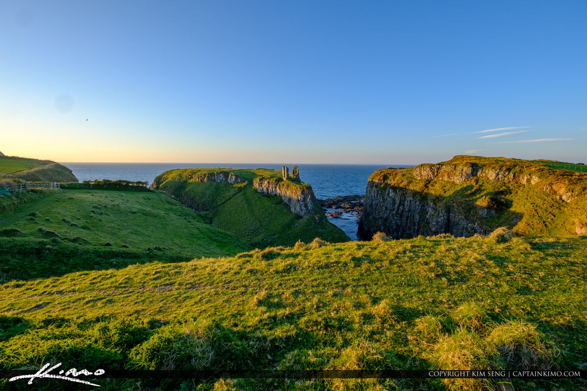 Wide View Landscape Dunseverick Castle Northern Ireland