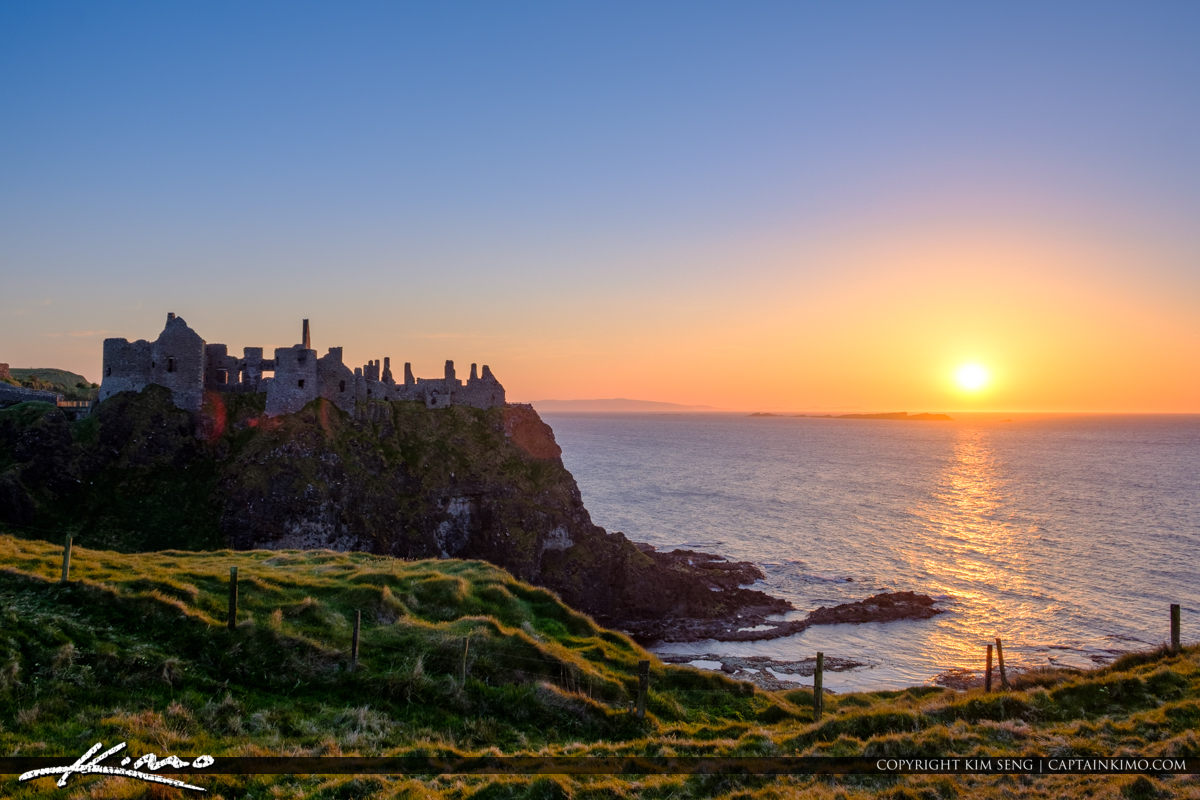 Sunset Field Dunluce Castle Northern Ireland